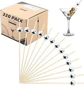 Bamboo Cocktail Picks Skewers Toothpicks - (Pack of 320) 4.75 Inch Silver Pearl Wooden Frill Tooth Picks for Appetizer Martini Food Garnish Cocktail Sandwich Fruit Kabob – Catering Weddings Decorative