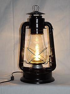 Dietz Blizzard 'Vintage Style' Electric Lantern Table Lamp - Black