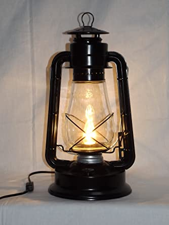 Gentil Dietz Blizzard U0027Vintage Styleu0027 Electric Lantern Table Lamp   Black