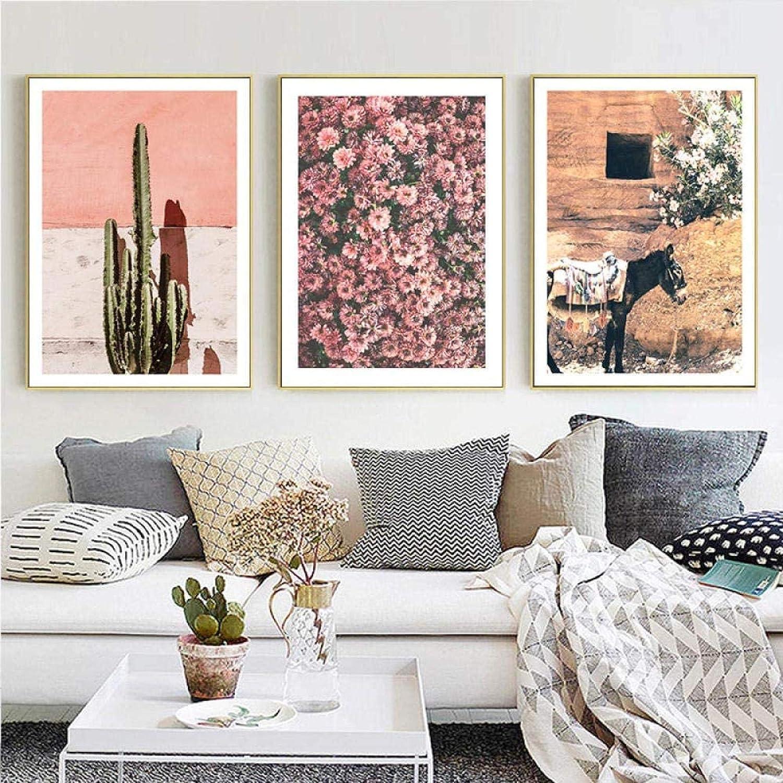 HHLSS Cuadros de Pared 3x60x80cm sin Marco Caballo Cactus Flor Cuarto de baño Cartel Rosa Impresión Minimalista Pintura Escandinava Decoración Sala de Estar Dormitorio