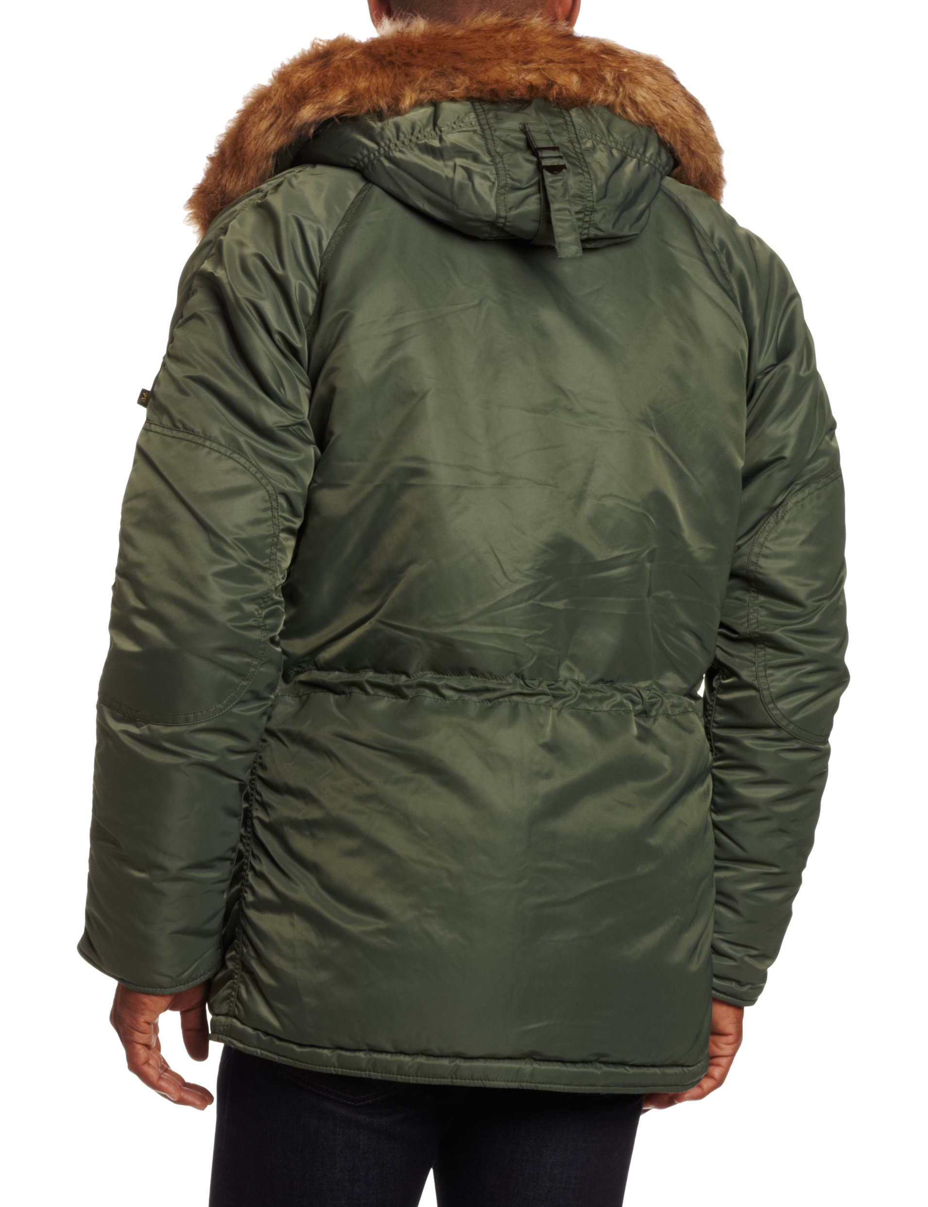 Alpha Industries Men's N-3B Slim-Fit Parka Jacket with Removable Faux-Fur Hood Trim, Sage/Orange, 5X-Large by Alpha Industries (Image #2)