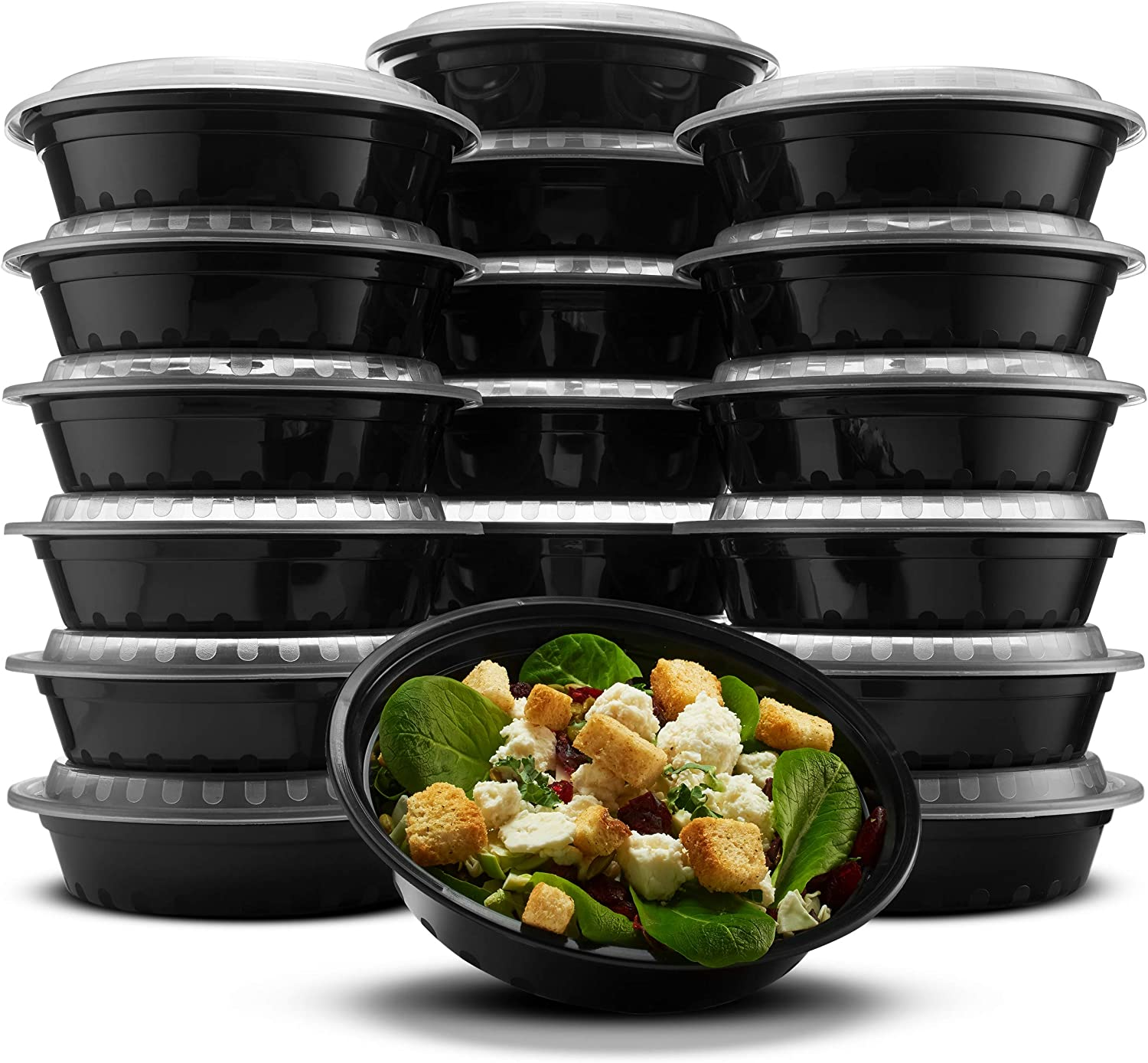 Paksh Novelty RND24OZ16PK Lunch Box Sets/Round Large Food Container with Lid for Meal Prep, Microwaveable, Freezer & Dishwasher Safe, Leak Proof, 24 Ounce, 20 Pack, Black-BK09