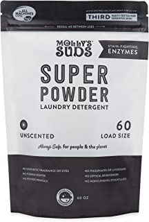 product image for Molly's Suds Super Powder Detergent, Natural Extra Strength Laundry Soap, Stain Fighting and Safe for Sensitive Skin, 60 Loads, Unscented