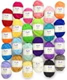 Mira Handcrafts 24 Skein Multicolor Yarn | Acrylic Craft Yarn | FREE 2 Crochet Hooks, 2 Weaving Needles, 7 E-books with Yarn Patterns | Crochet Starter Kit