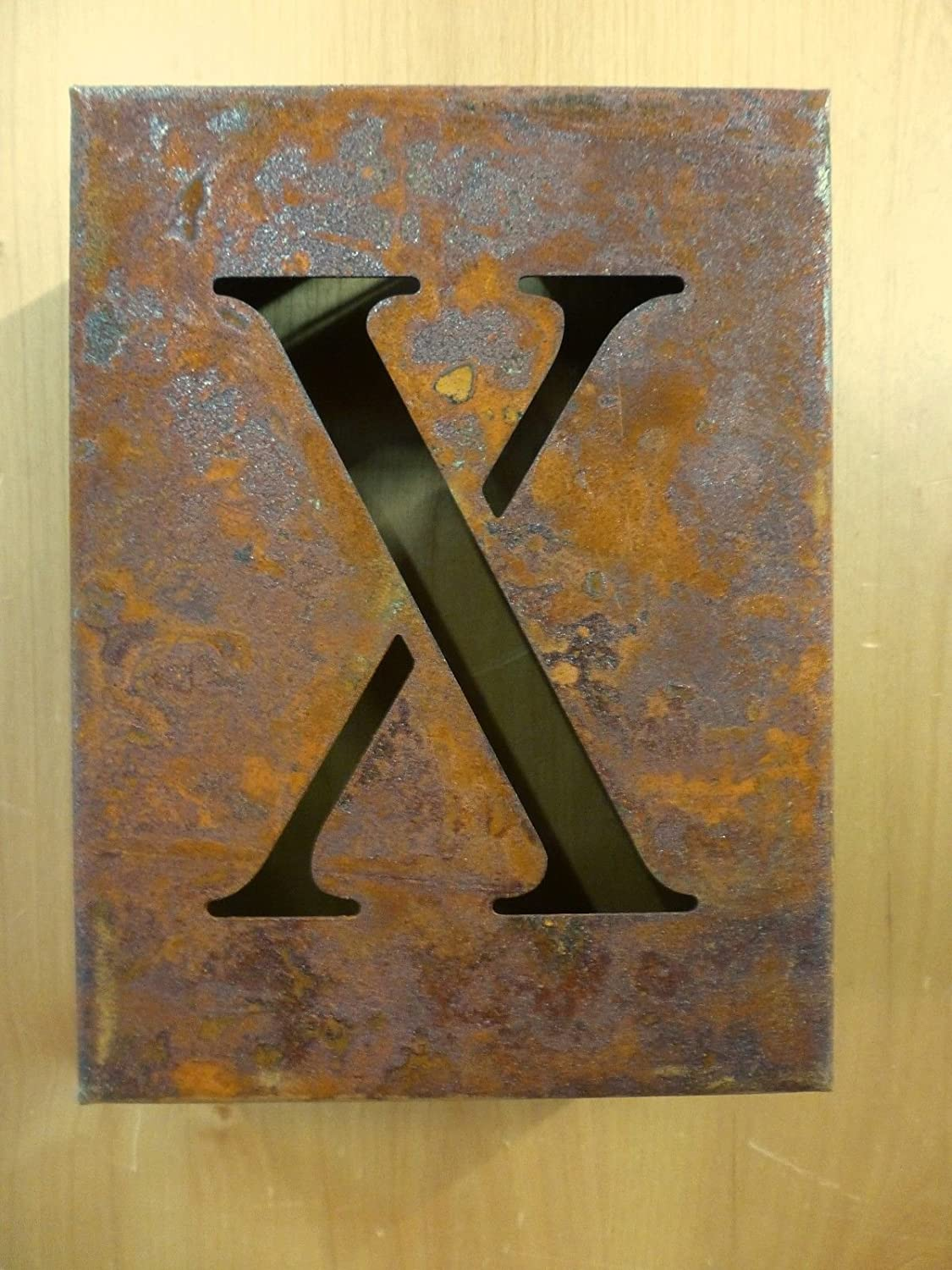 """8/"""" RUSTY RUSTED INDUSTRIAL METAL BLOCK CUT SIGN LETTER X vintage marquee wall"""