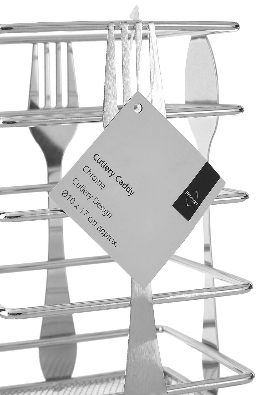 Premier Housewares Cesto cromato per la frutta 9 x 28 x 28 cm Design posate