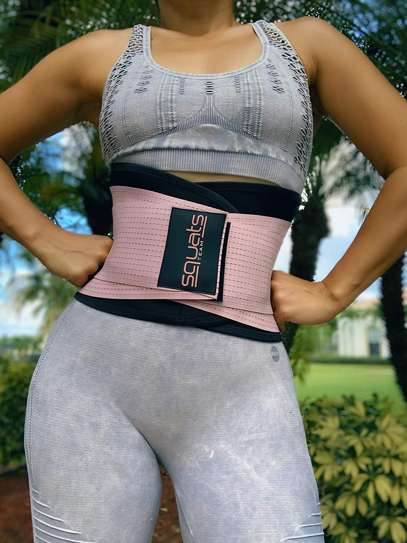 SquatsTeam Women Waist Trainer Waist Trimmer Weightlifting Postpartum Lumbar Support Waist Trimming Body Shaper Back Brace Squatting Sports Fitness Belt Patented Trademarked