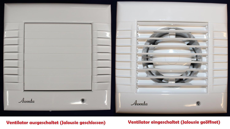 Badlüfter mit automatische Jalousie Lüfter Wandlüfter Ventilator WC ...