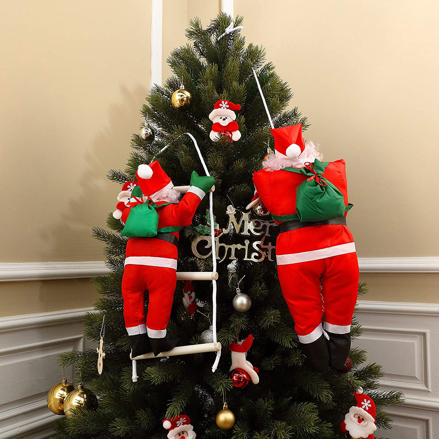 2 Pieces Santa Claus Climbing On Rope Ladder Hanging 35 Inch and 19 Inch for Christmas Tree Indoor Outdoor Hanging Ornament Decor Xmas Party Home Door Wall Decoration