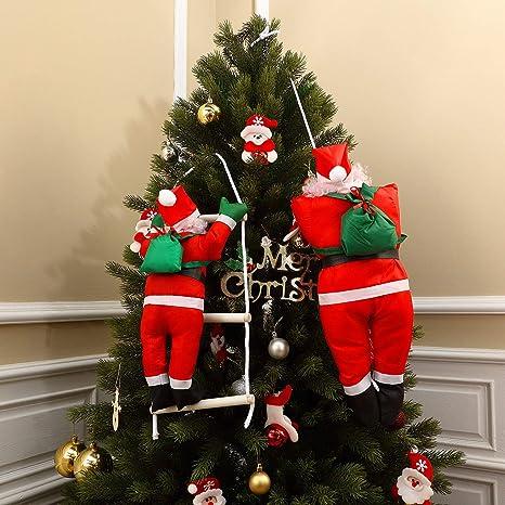 2 Piezas Colgantes de Escalada de Cuerda de Papá Noel de 35 Pulgadas y 19 Pulgadas para Árbol de Navidad Adorno Colgante Interior Exterior Decoración ...