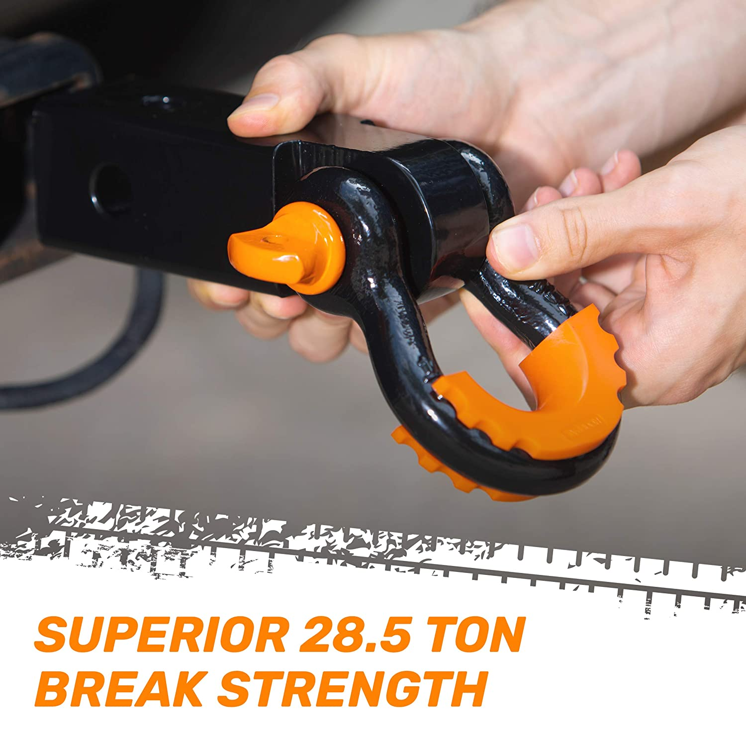 """Mounts to 2/"""" Receivers RoofPax Shackle Hitch Receiver High Strength D-Ring Towing Shackle Hitch 31,000 Lbs Break Strength Capacity Premium Towing Accessory Vehicle Recovery"""