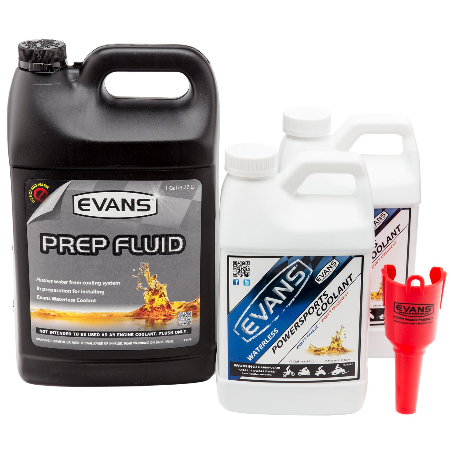Evans Coolant EC72064-2 EC41001 Powersports Waterless Coolant and Prep Fluid Combo Pack, 2 Gallon with Funnel by EVANS