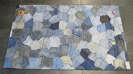 Cosido a mano Alfombra Patchwork Denim Jeans reciclado 183 x ...