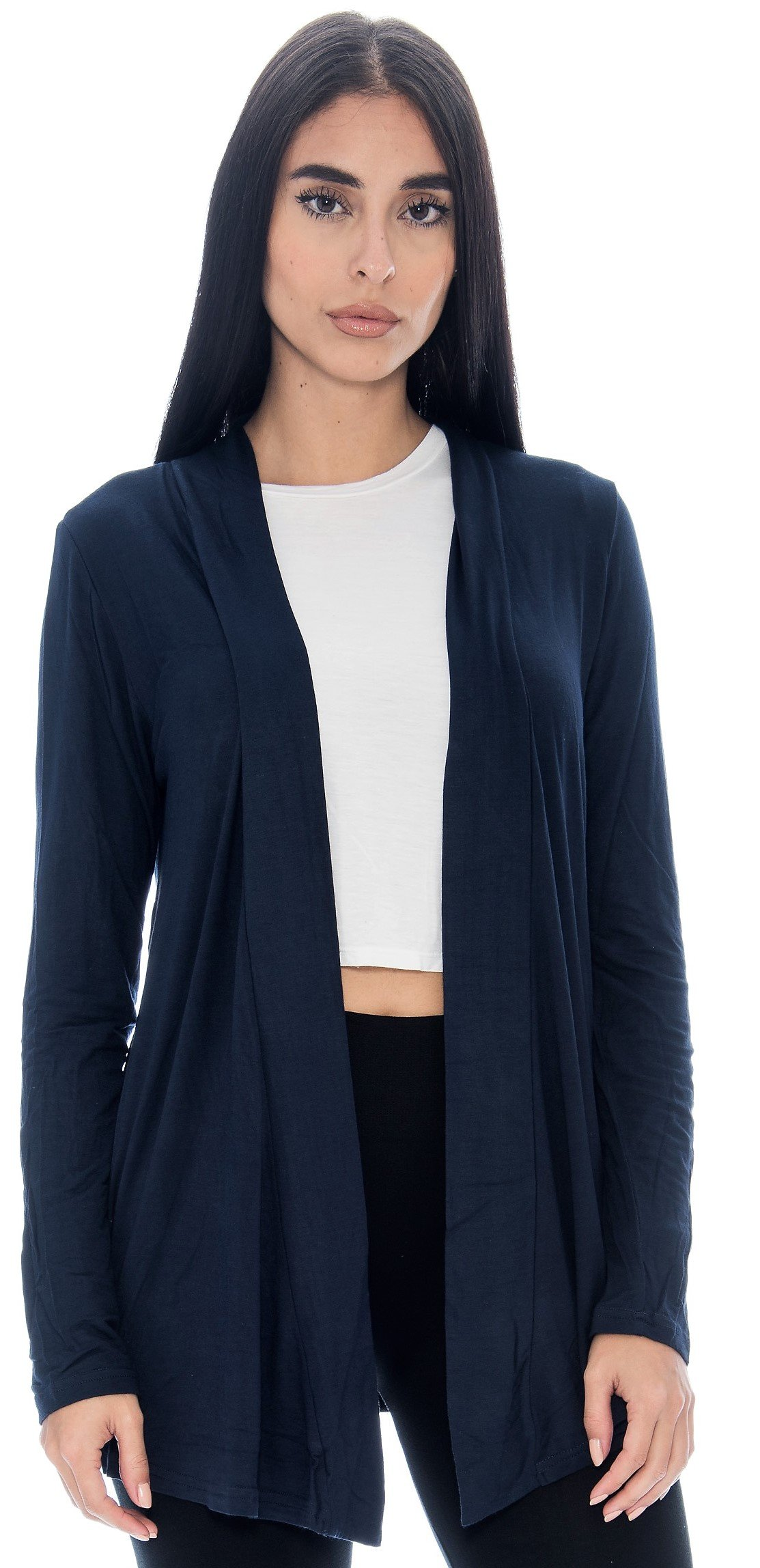 Unique Styles Open Front Cardigan for Women Warm Long Sleeve Lightweight Top (Large, Navy)