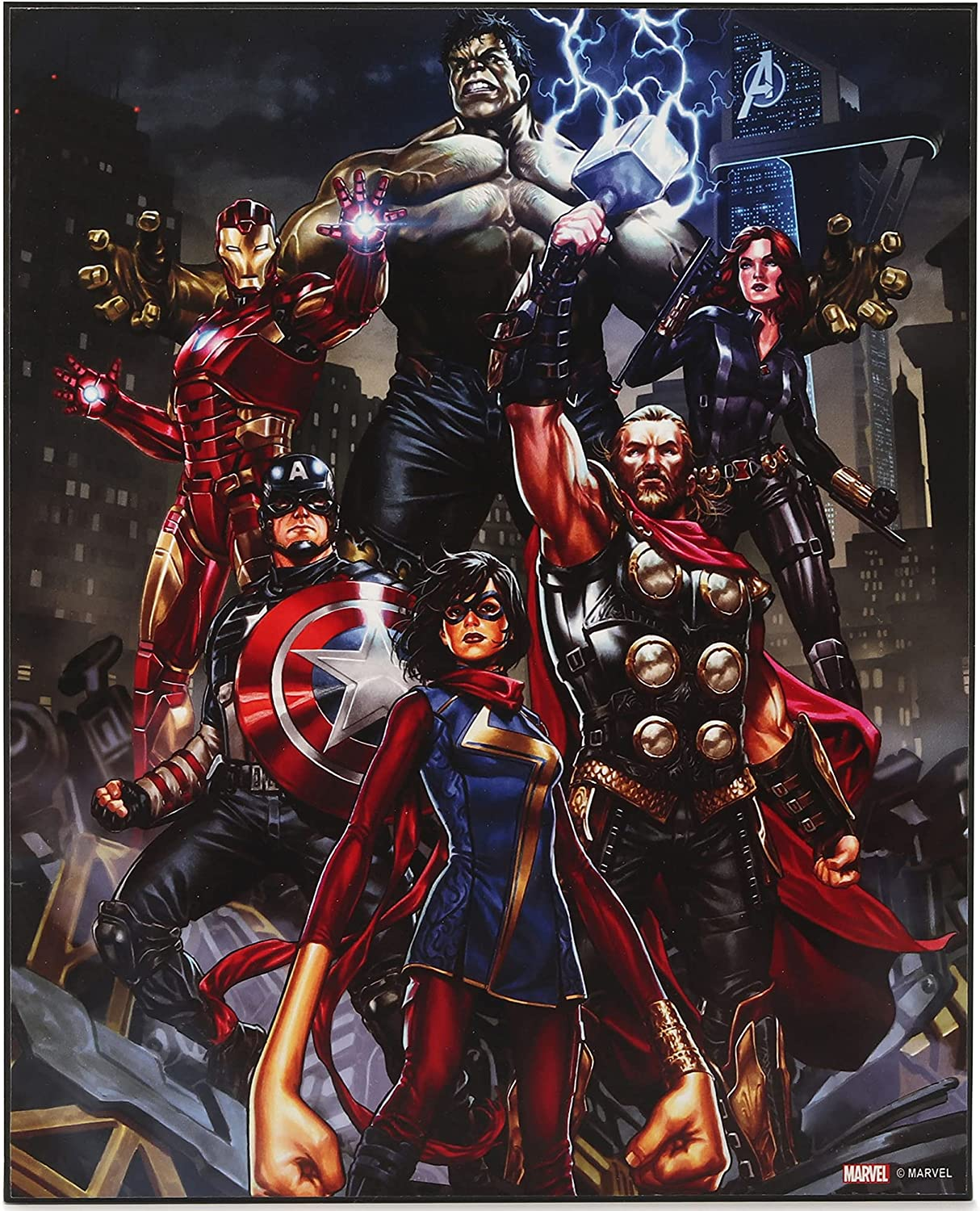 Open Road Brands Marvel Avengers Thor, The Incredible Hulk, Captain America, Black Widow, Iron Man and Ms. Marvel Wood Wall Decor for Movie Room, Man Cave, or Kids' Room