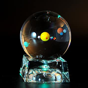 Superior Solar System 3D Crystal Ball With LED Lamp Base Clear 80mm (3.15 Inch) Glass