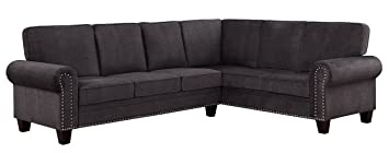 Stupendous Homelegance Cornelia 110 X 85 Fabric Sectional Sofa Gray Pabps2019 Chair Design Images Pabps2019Com