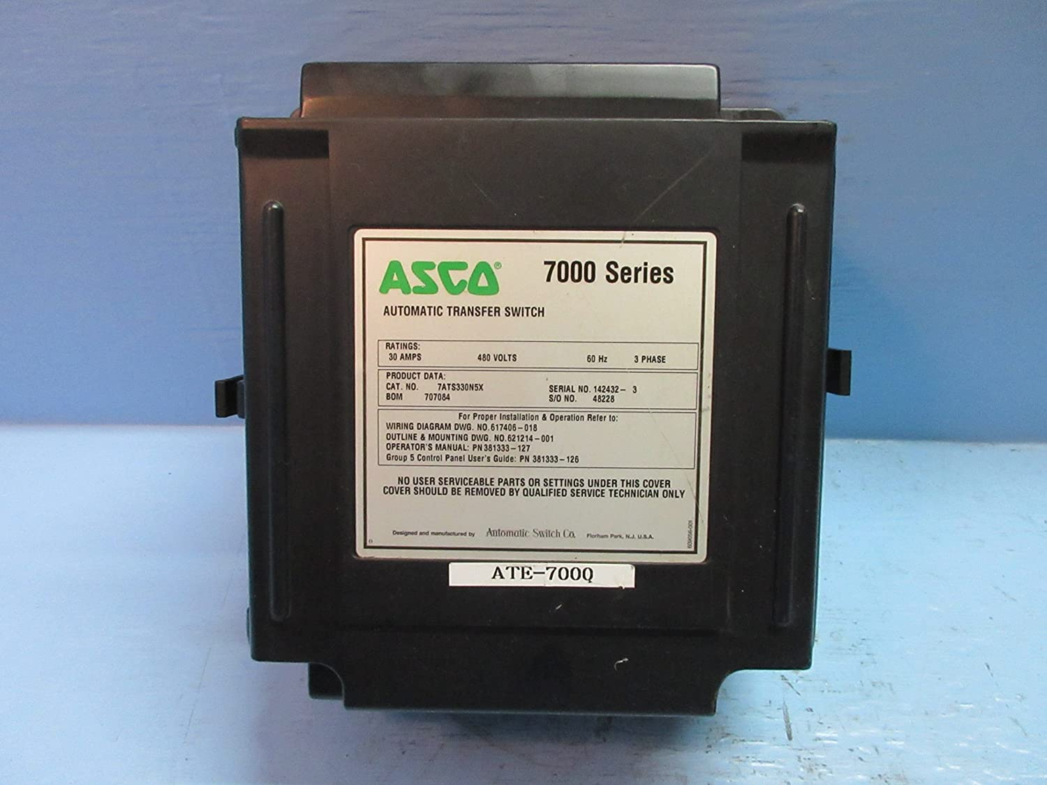 Asco 7000 Series Transfer Control Center 601800 002 Automatic Wiring Diagram Switch Industrial Scientific