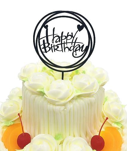 Happy Birthday Cake Topper KOOTIPS Acrylic Black Twinkle DIY Glitter First Cupcake