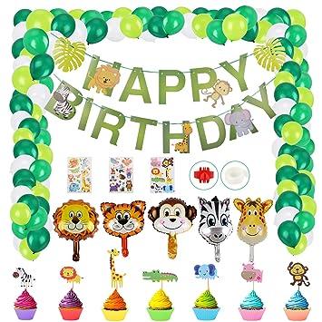 Herefun Selva Fiesta de Cumpleaños Decoracion, Fiesta de Jungla Deco Selva Animales Niños Decoración Decoración de Cumpleaños con Globos de Temáticos ...