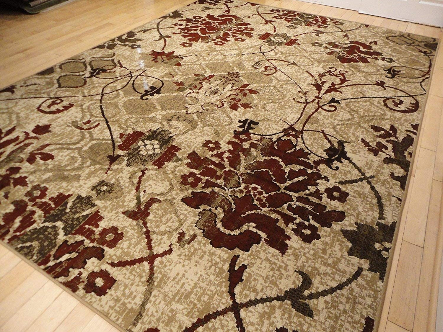 Modern Burgundy Rug For Living Room 5x7 Red Cream Beige Area Rugs Tree Leaves Branch Rug Contemporary Rugs Burgundy Cream Beige 5x8 Rug Home Kitchen