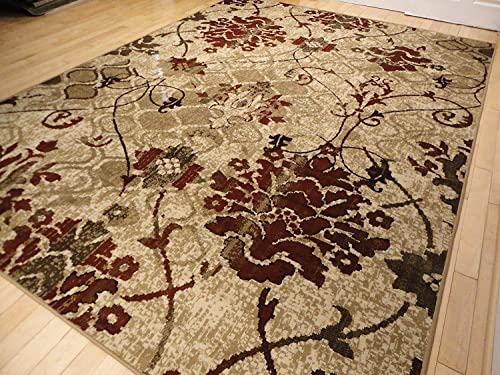 Modern Burgundy Rug Living Room 5×7 Red Cream Beige Area Rugs Tree Leaves Branch Rug Contemporary Rugs Burgundy Cream Beige 5×8 Rug