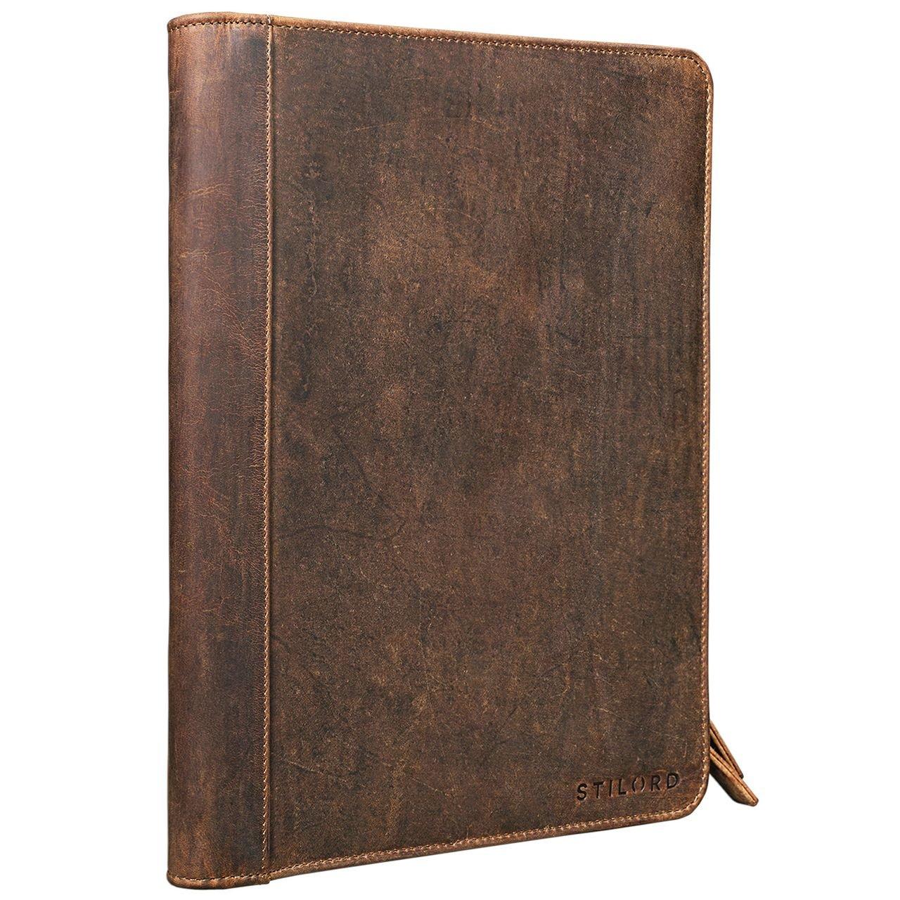 STILORD 'Julius' Vintage Conference Folder A4 Leather Brown Portfolio Document Folder Sophisticated Vintage Design fit for 12 inch Tablets Genuine Leather, Colour:Dark - Brown