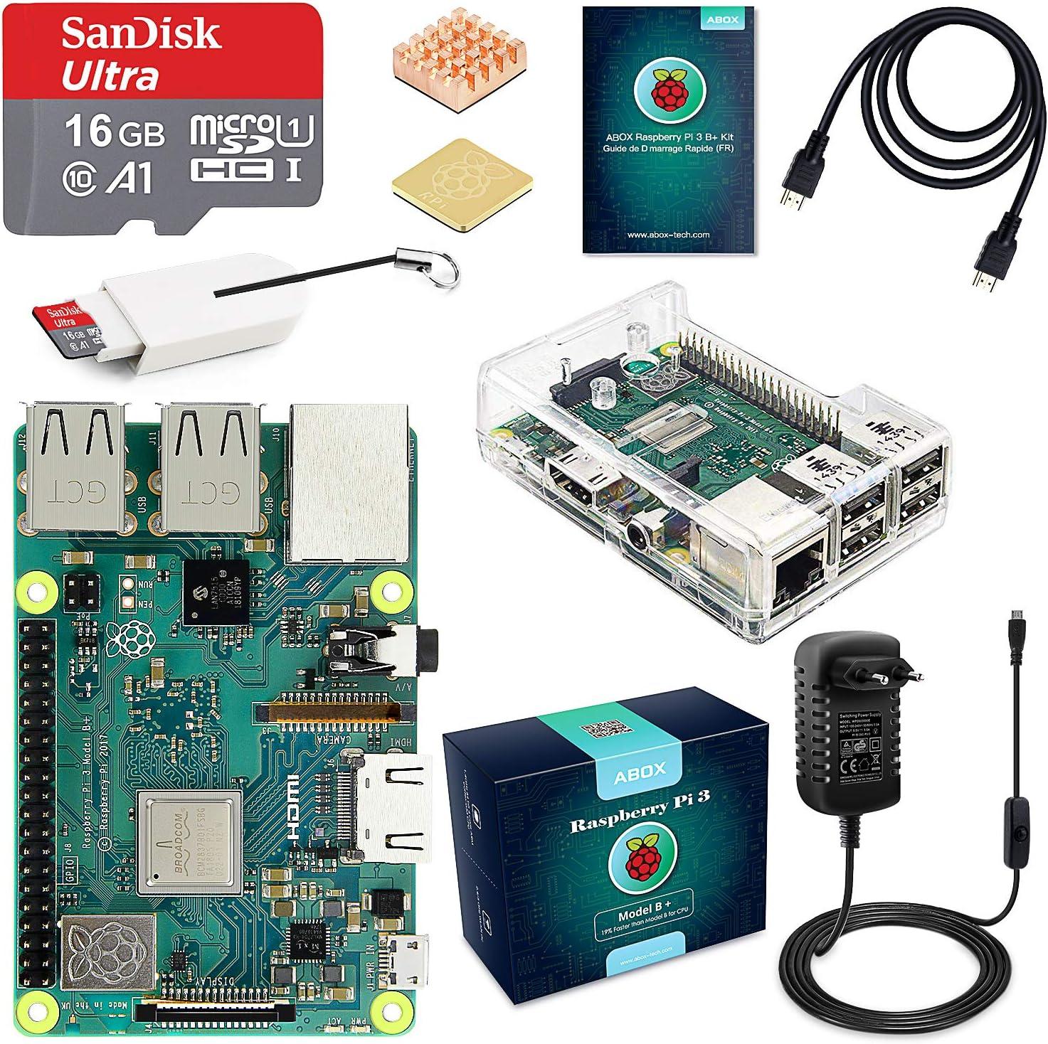 ABOX Raspberry Pi Kit 3b Plus + 16 Go: Amazon.es: Informática