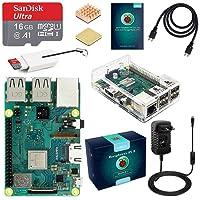 ABOX Raspberry Pi 3 B+ Starter Kit 16 Go SanDisk Micro SD Carte Classe 10, 5V 3A Alimentation Interrupteur Marche/Arrêt et Boîtier Transparent 【2018 Version Améliorée】