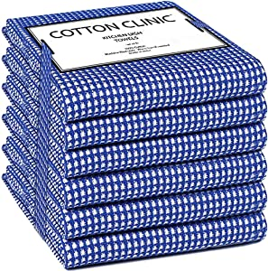 Cotton Clinic Classic Waffle Kitchen Dish Towels 6 Pack Extra Large 18x28, Dish Cloths, Bar Towels, Tea Towels and Cleaning Towels, Absorbent Kitchen Towels with Hanging Loop - Navy