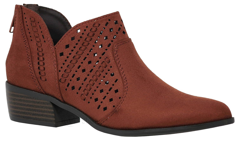 MVE Shoes Women's Stylish Ankle Bootie - Closed Toe Cut Out Design Side Zipper