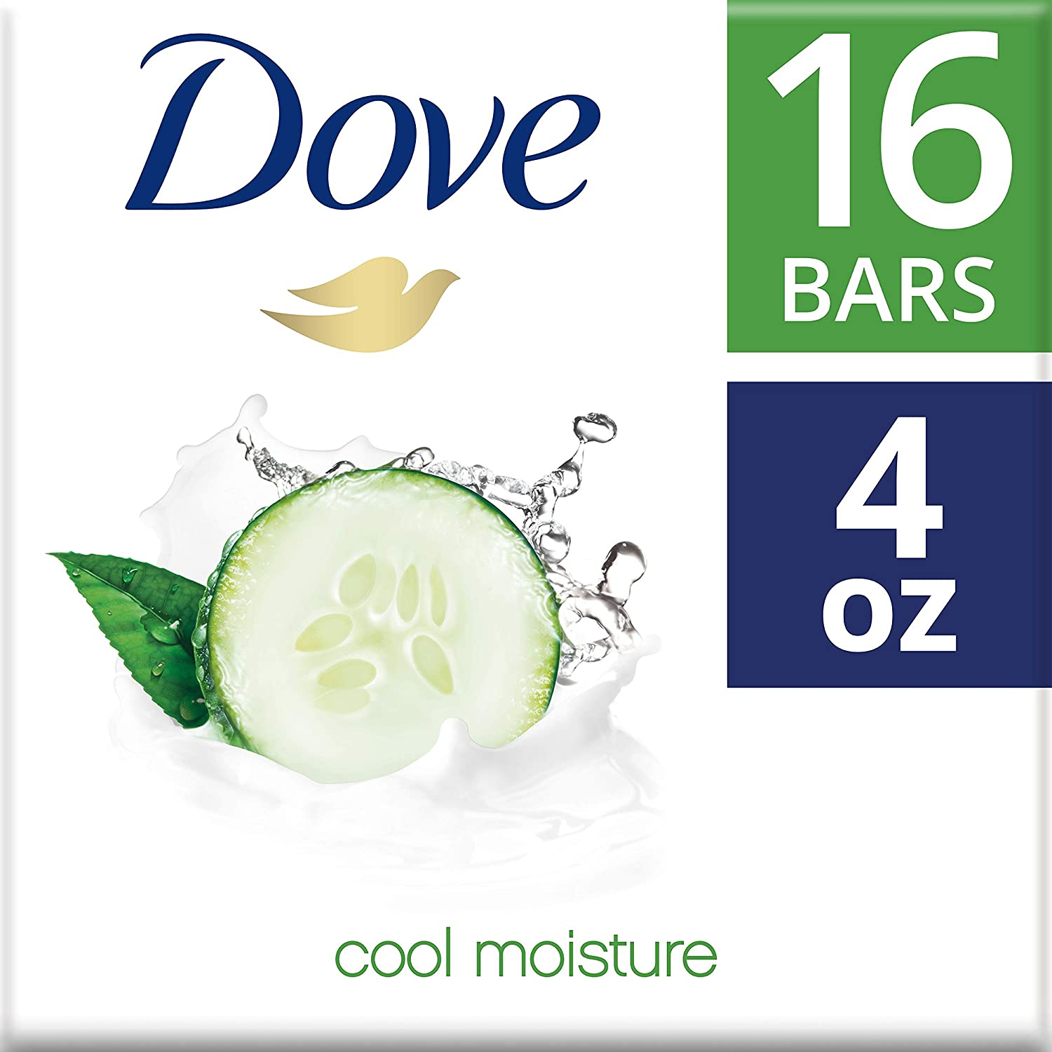 DoveMore Moisturizing than Bar Soap, Cucumber and Green Tea Beauty Bar, 4 Ounce, 16 Count (Pack of 1)