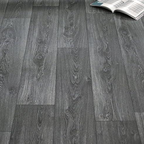 Pvc bodenbelag küche  PVC Bodenbelag Holz Maxiplanken Schwarz Grau Breite 2 m (8,95 € p ...