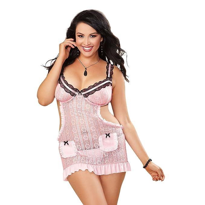 Dreamgirl Women s Plus-Size Flirty Delicate Lace Apron and Babydoll Set cc129ac29