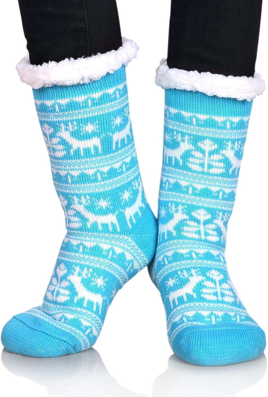 Dosoni Women Fuzzy Slipper Socks Winter Soft Warm Fleece Lining Socks