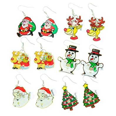 252239cbf 6 x Festive Christmas/ Xmas Flashing Dangle Earrings: Amazon.co.uk:  Jewellery
