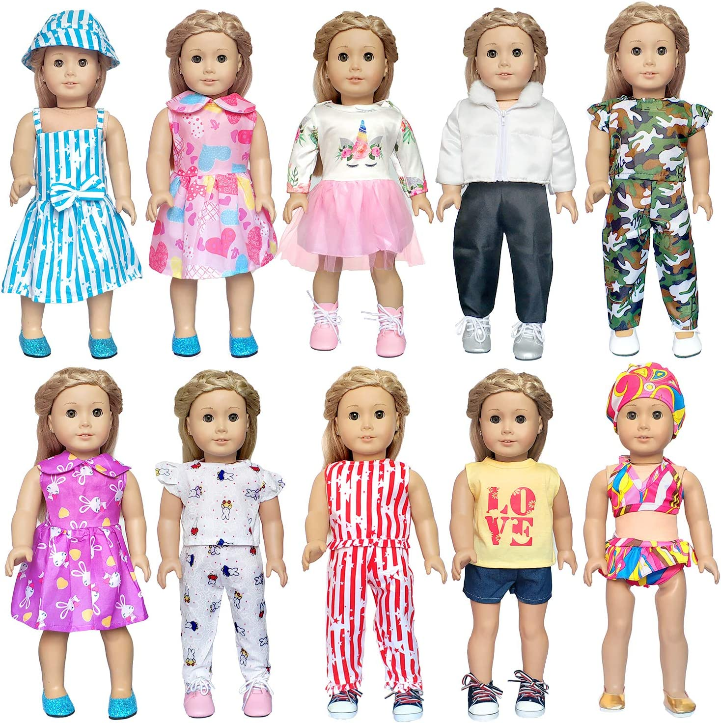 Doll Clothes Pajames Shoes for 18inch Our Generation My Life Dolls