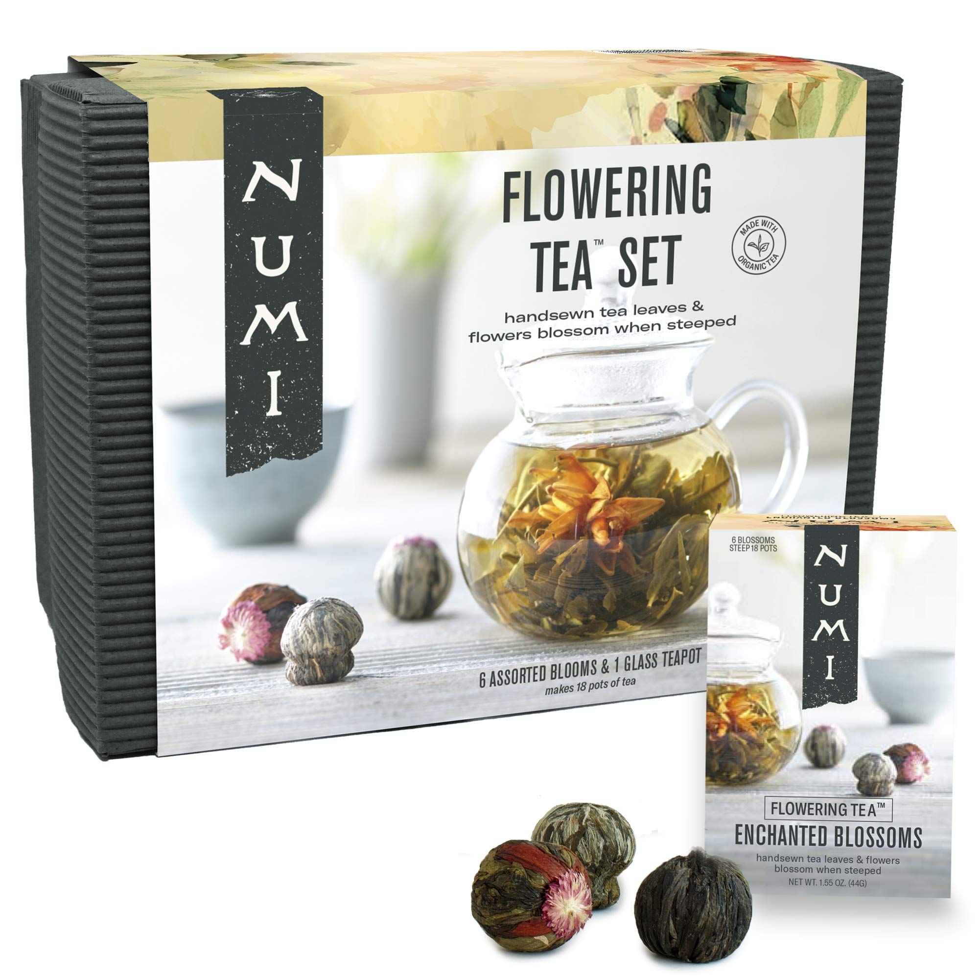 Numi Organic Tea Flowering Tea Gift Set, 6 Tea Blossoms with 16 Ounce Glass Teapot (Packaging May Vary)