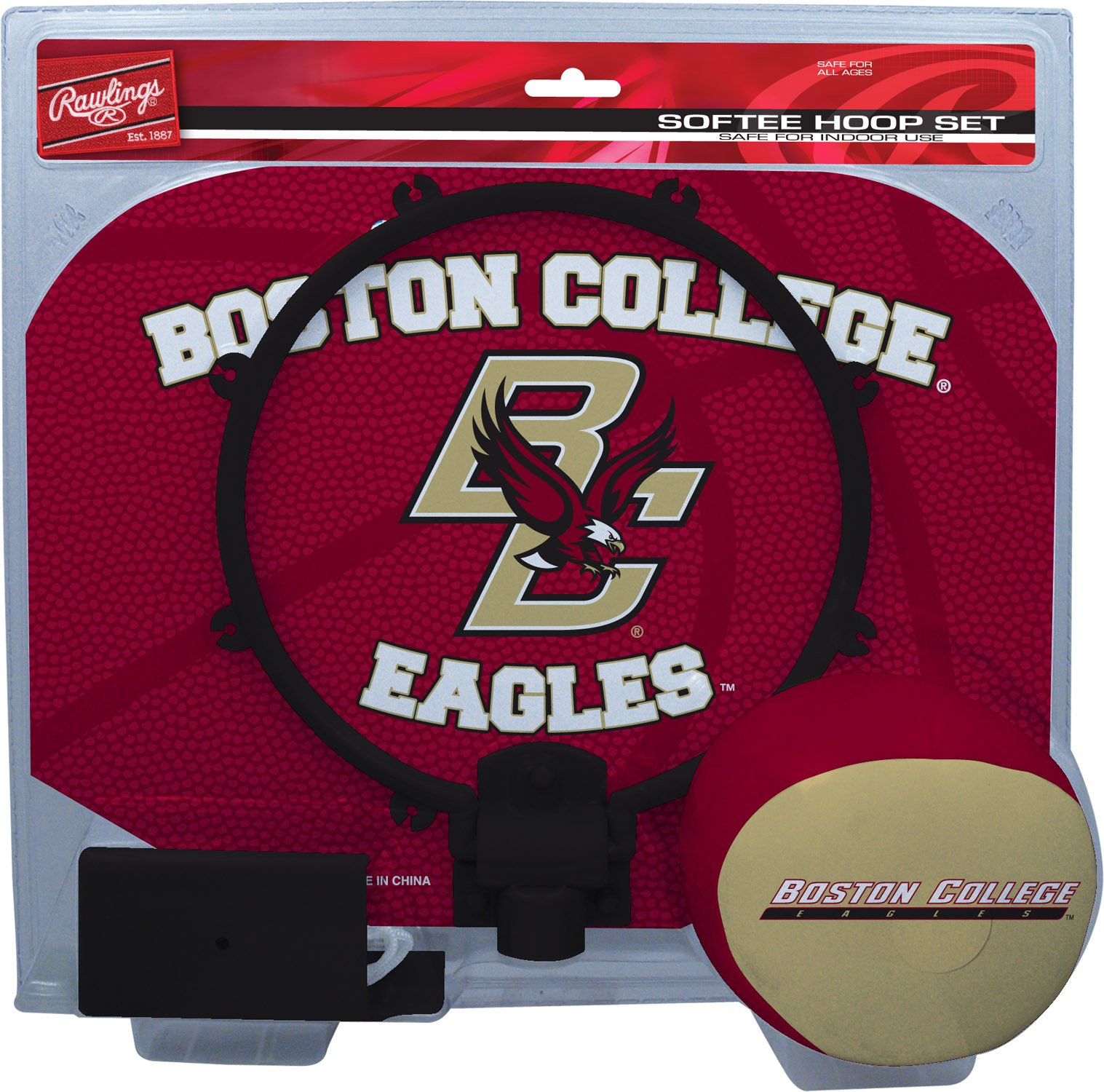 Rawlings NCAA Boston College Eagles Kids Slam Dunk Hoop Set, Red, Small