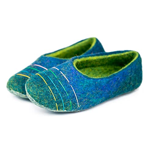 a5b428d4a2f BureBure Felted Wool Slippers with Colorful Threads for Women Handmade in  Europe  Amazon.co.uk  Handmade