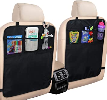 100/% Waterproof XL Storage Pocket MyTravelAide Kick Mats with Car Backseat Organizer Premium XL Protector for Car Seat Back 2 Pack