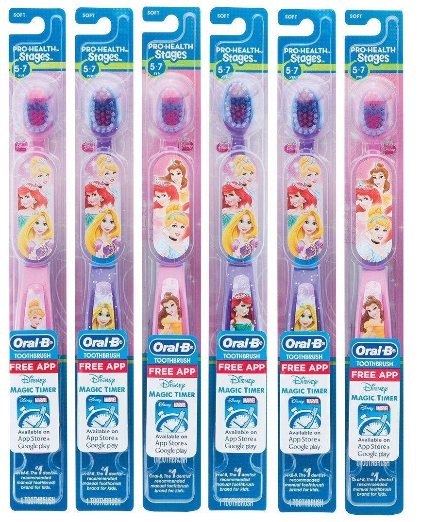 Oral-B Kids Manual Toothbrush featuring Disney's Princess Characters, Soft bristles, 6 count
