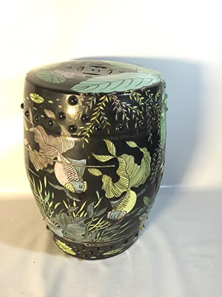 Genial Japanese Garden Stool Indoor Outdoor Ceramic Koi Pond Asian Theme Patio  Stand