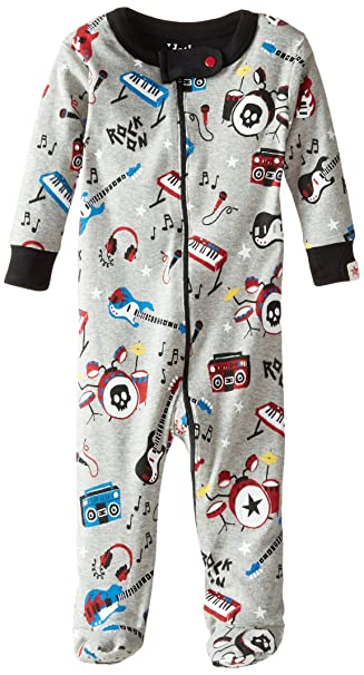 Hatley Infant Footed Coverall -Rock Band - Pijama para niños, Color Gris, Talla