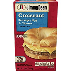 Jimmy Dean Sausage Egg and Cheese Croissant Sandwich, 9 Ounce, 2 Count -- 8 per case.