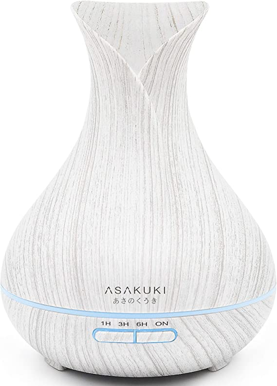 ASAKUKI 400ML Premium Essential Oil Diffuser, Quiet 5 In 1 Humidifier, Natural Home Fragrance Diffuser with 7 LED Color Changing Light and Easy to