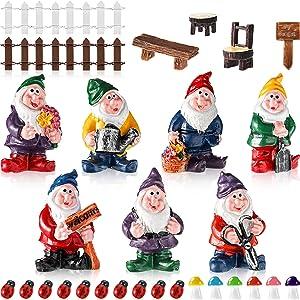 Skylety 28 Pieces Fairy Garden Accessories Miniature Gnome Figurines Mini Ornaments Kit Mini Landscape Decoration for DIY Plant Flower Pots Ornaments