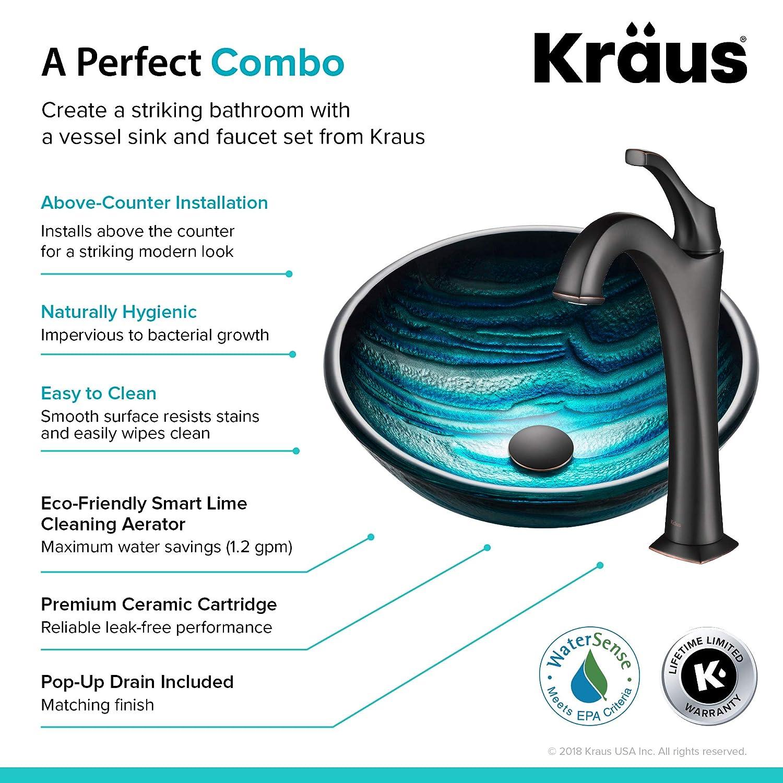 Kraus GV-399-19mm Ladon Glass Vessel Bathroom Sink
