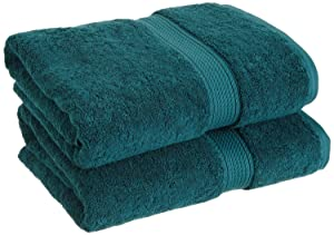 """Superior 900 GSM Luxury Bathroom Towels, Made Long-Staple Combed Cotton, Set of 2 Hotel & Spa Quality Bath Towels - Teal, 30"""" x 55"""" each"""
