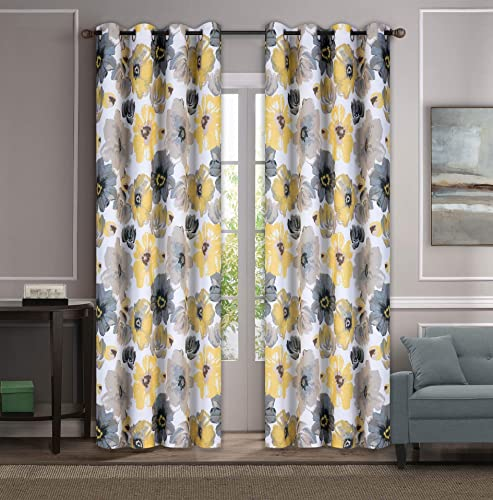 Set of 2 Grommet Floral 52 W x 108 L 104 Total Width Decorative Window Curtain Panels, White Yellow Dark Beige Gray Room Darkening Soft and Heavy Panels for Living Room Bedroom, Lily 108 Yellow